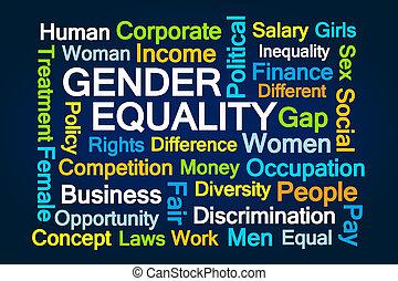gênero, palavra, igualdade, nuvem