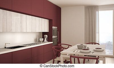 Modern minimal red kitchen with wooden floor, classic...