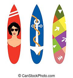 surfboard set in various poses color illustration