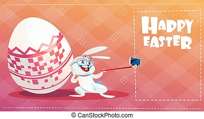 Rabbit Taking Selfie Photo Easter Holiday Bunny Decorated...