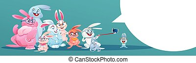 Rabbit Taking Selfie Photo Easter Holiday Bunny Group...