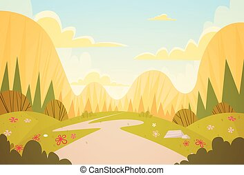 Mountain Range Spring Landscape Country Road Nature...