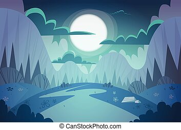 Mountain Range Spring Night Landscape Country Road Nature...