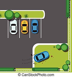 Bad City Parking Blocking Cars Concept Top Angle View Flat...