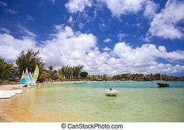 Tropical lagoon in Mauritius Island