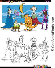 fantasy characters coloring page