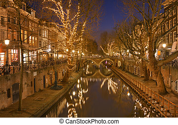 Canal in Utrecht, The Netherlands at night - The Oudegracht...