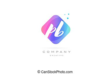 pb p b pink blue rhombus abstract hand written company...