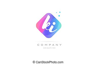 ki k i pink blue rhombus abstract hand written company...