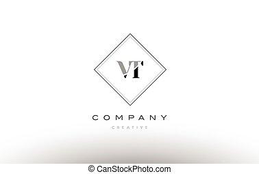 vt v t retro vintage black white alphabet letter logo - vt v...