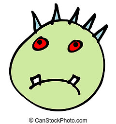 Haunted Head - Cartoon illustration of the boogeyman head