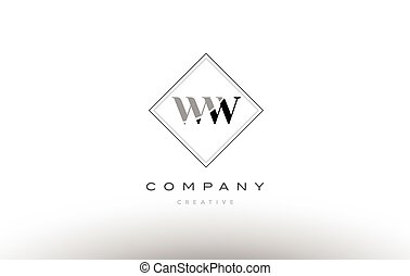 ww w retro vintage black white alphabet letter logo - ww w...