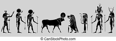 Egyptian gods and demons - vector - Various Egyptian gods,...