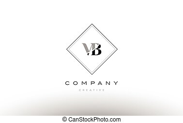 vb v b retro vintage black white alphabet letter logo - vb v...