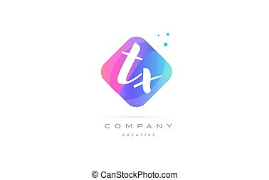 tx t x pink blue rhombus abstract hand written company...