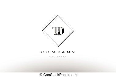 td t d retro vintage black white alphabet letter logo - td t...