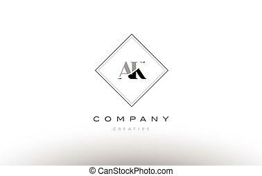 ak a k retro vintage black white alphabet letter logo - ak a...