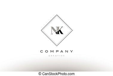 nk n k retro vintage black white alphabet letter logo - nk n...