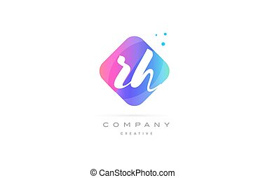 rh r h pink blue rhombus abstract hand written company...