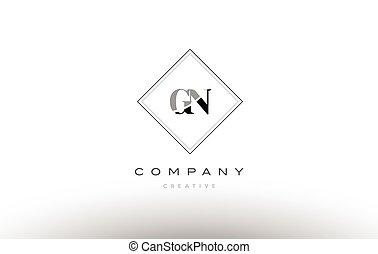 gn g n retro vintage black white alphabet letter logo - gn g...