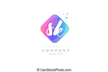 sk s k pink blue rhombus abstract hand written company...