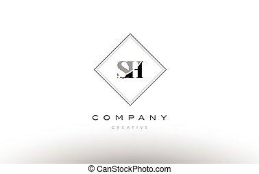 sh s h retro vintage black white alphabet letter logo - sh s...