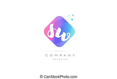 sw s w pink blue rhombus abstract hand written company...