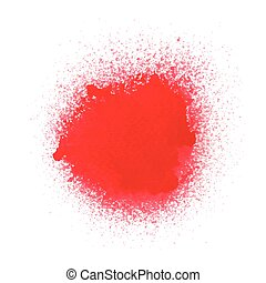 Red spray paint on white background