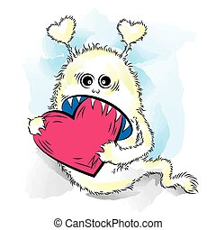 Drawing cool monster in love. St Valentines