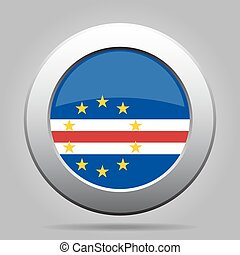Flag of Cape Verde. Shiny metal gray round button.
