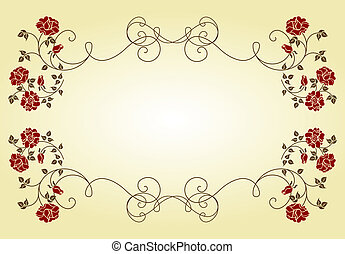 Retro frame with roses.