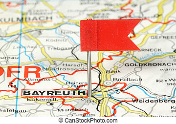 Bayreuth - notable city in Germany. Red flag pin on an old...