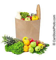 Brown paper bag full with groceries