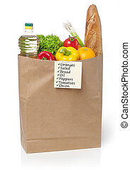 Groceries and shopping lis - Groceries in paper bag isolated...