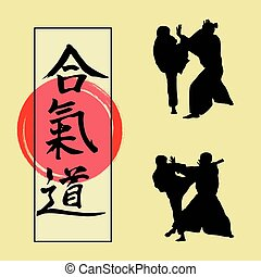 Demonstration of Aikido and Japanese hieroglyph..eps -...