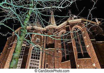 Night Pictures at historical city in Holland - Exterior of a...