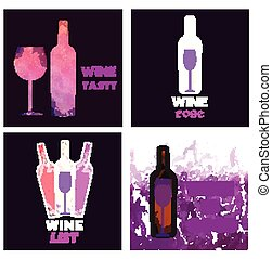 Wine tasting card set, with colored bottle and a glass over...
