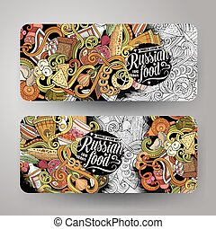 Cartoon vector doodles Russian food 2 horizontal banners -...