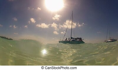 Luxury yacht sailing at sunny day