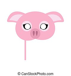 Pink Pig Domestic Animal Carnival Mask. Vector - Pig...