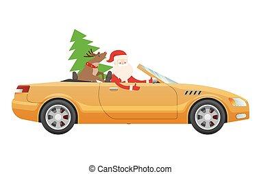 Santa Claus Drive on Cute Luxury Car with Reindeer - Santa...