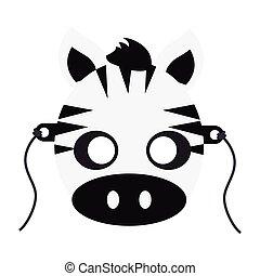 Zebra Carnival Mask. Striped Black White Animal