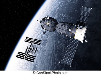 Spacecraft And International Space Station Orbiting Earth....