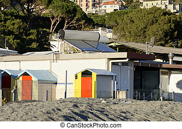bathing box in arenzano beach - detail of bathing box in...