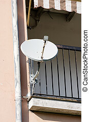 satellite dish and tv antenna - detail of satellite dish and...