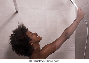 African American woman in the shower - Woman in the...