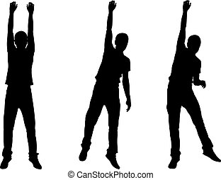 Set of men hanging silhouettes isolated on white