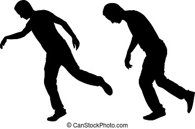 Illustration of a men stumbling isolated on white