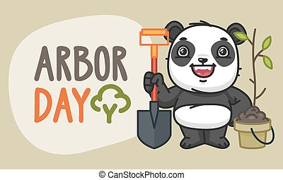 Arbor Day Panda Character Holding Shovel and Laughs. Vector...