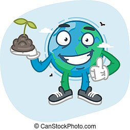 Earth Character Holds Handful of Earth. Vector Illustration....